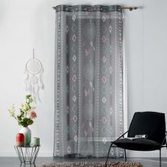 Indila Geometric Eyelet Voile Curtain Panel - Charcoal Grey, Mint Blue & Coral