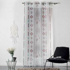 Indila Geometric Eyelet Voile Curtain Panel - White, Mint Blue & Coral