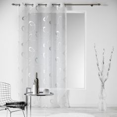 Infinity Silver Swirls Eyelet Voile Curtain Panel - White