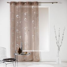 Infinity Silver Swirls Eyelet Voile Curtain Panel - Brown