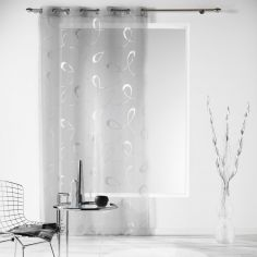 Infinity Silver Swirls Eyelet Voile Curtain Panel - Silver Grey