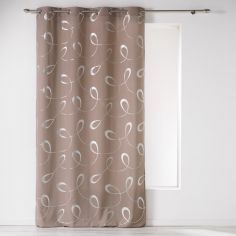 Infinity Silver Swirls Eyelet Unlined Curtain Panel - Brown