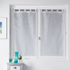 Inspira Silver Thread Straight Voile Blind Pair with Tab Top - White