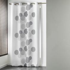 Japonica Spots Unlined Eyelet Curtain Panel - White
