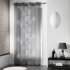Japonica Spots Eyelet Voile Curtain Panel - Grey