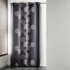 Japonica Spots Unlined Eyelet Curtain Panel - Grey
