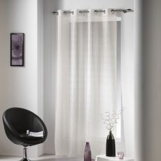Java Natural Woven Eyelet Voile Curtain Panel - Beige