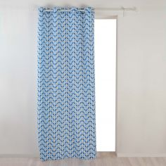 Jodie Geometric Unlined Eyelet Curtain Panel - Light Blue