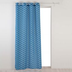 Jodie Geometric Unlined Eyelet Curtain Panel - Dark Blue