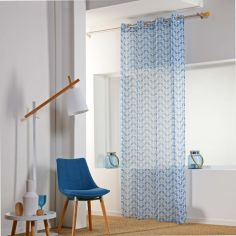 Jodie Geometric Eyelet Voile Curtain Panel - Light Blue