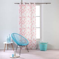Kineo Floral Eyelet Voile Curtain Panel - Coral Pink