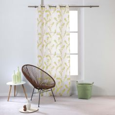 Kineo Floral Eyelet Voile Curtain Panel - Yellow