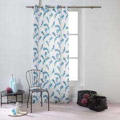 Kineo Floral Eyelet Voile Curtain Panel - Navy Blue