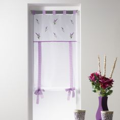 Lavender Floral Tie Up Voile Blind with Tab Top - White Purple