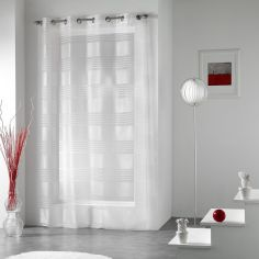 Lenny Striped Jacquard Eyelet Voile Curtain Panel - White
