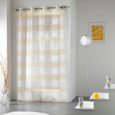 Lenny Striped Jacquard Eyelet Voile Curtain Panel - Yellow