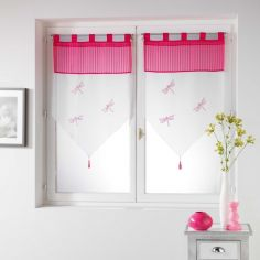 Libellula Pom Pom Embroidered Voile Blind Pair with Tab Top - Fuchsia Pink