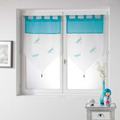 Libellula Pom Pom Embroidered Voile Curtain Pair with Tab Top - Blue