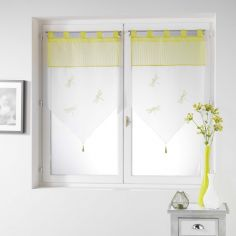 Libellula Pom Pom Embroidered Voile Curtain Pair with Tab Top - Yellow