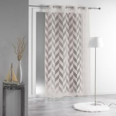 Lillia Geometric Eyelet Voile Curtain Panel - Natural Beige