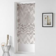 Lilia Geometric Straight Voile Blind with Tab Top - Linen Natural