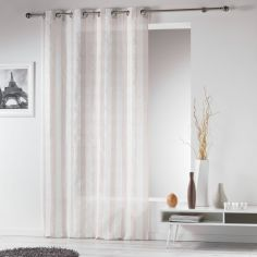 Lilika Woven Striped Eyelet Voile Curtain Panel - Beige