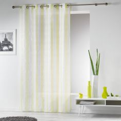 Lilika Woven Striped Eyelet Voile Curtain Panel - Green