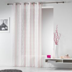 Lilika Woven Striped Eyelet Voile Curtain Panel - Rose Pink