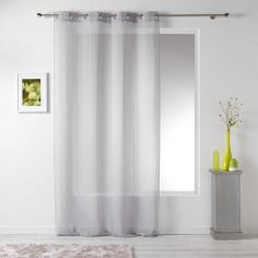Linahe Chenille Eyelet Voile Curtain Panel - Silver Grey