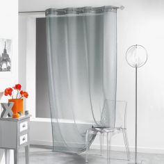 Lissea Plain Eyelet Voile Curtain Panel - Silver Grey