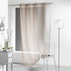 Lissea Plain Eyelet Voile Curtain Panel - Taupe