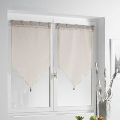 Lissea Tasselled Voile Blind Pair with Tab Top - Taupe Natural