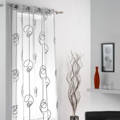 Looping Eyelet Voile Curtain Panel - White