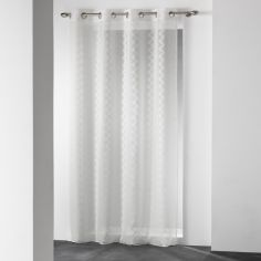 Loopy Zig Zag Eyelet Voile Curtain Panel - Cream
