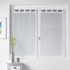 Lorenza Silver Thread Voile Blind Pair with Tab Top - White