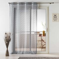 Loria Mesh Eyelet Voile Curtain Panel - Silver Grey