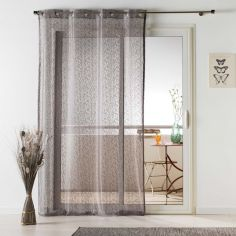Loria Mesh Eyelet Voile Curtain Panel - Taupe