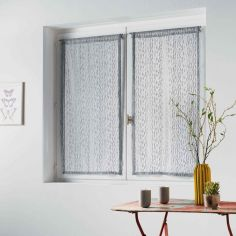 Loria Mesh Voile Blind Pair with Slot Top - Silver Grey