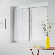 Loria Mesh Voile Blind Pair with Slot Top - White