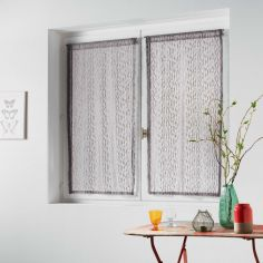 Loria Mesh Voile Blind Pair with Slot Top - Taupe Natural
