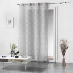 Lozae Geometric Eyelet Voile Curtain Panel - Silver Grey
