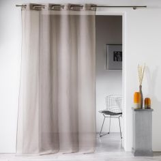 Luxe Silver Thread Eyelet Voile Curtain Panel - Taupe