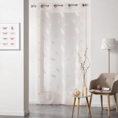 Lyria Feather Jacquard Eyelet Voile Curtain Panel - Rose Pink