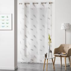 Lyria Feather Jacquard Eyelet Voile Curtain Panel - Grey