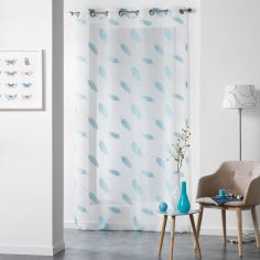 Lyria Feather Jacquard Eyelet Voile Curtain Panel - Blue