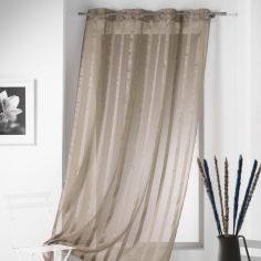 Malta Striped Eyelet Voile Curtain Panel - Taupe