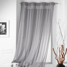 Malta Striped Eyelet Voile Curtain Panel - Silver Grey
