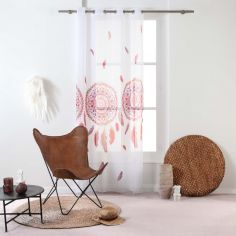 Legende Dream Catcher Eyelet Voile Curtain Panel - Pink White