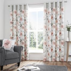 Adriana Floral Fully Lined Eyelet Curtains - Blush Pink