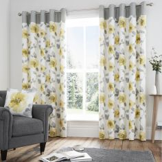 Grey Ochre Yellow Curtains & Pelmets Alabar Floral Fully Lined Eyelet Curtains Curtains & Blinds